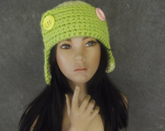 OOAK Crochet Lime Green and Yellow Crochet Aviator Hat with Button Details/ Ready to Ship