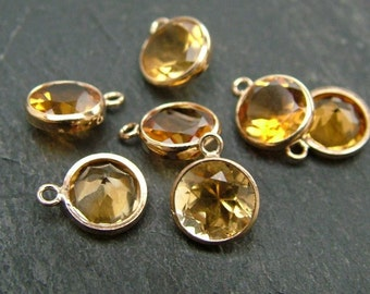 Gold Filled Citrine Charm 6mm (CG6601)