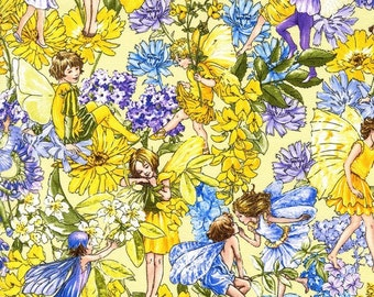 Flower Fairy Day Fairies Yellow Cicely Mary Barker Fabric 1 yard