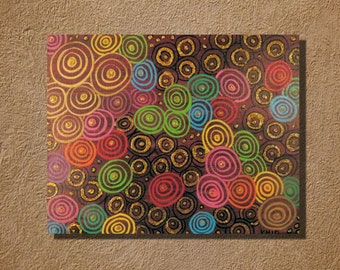 Mod Circles in Bright Colors Original 11 x 14 acrylic painting
