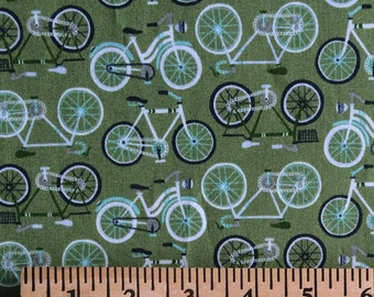 Green Bicycles Cotton Fabric