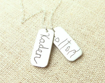 Mother's Day Gift - Handwriting Jewelry - Personalized Necklace - Memorial Necklace -  ACTUAL Handwriting on Silver - Mom Jewelry