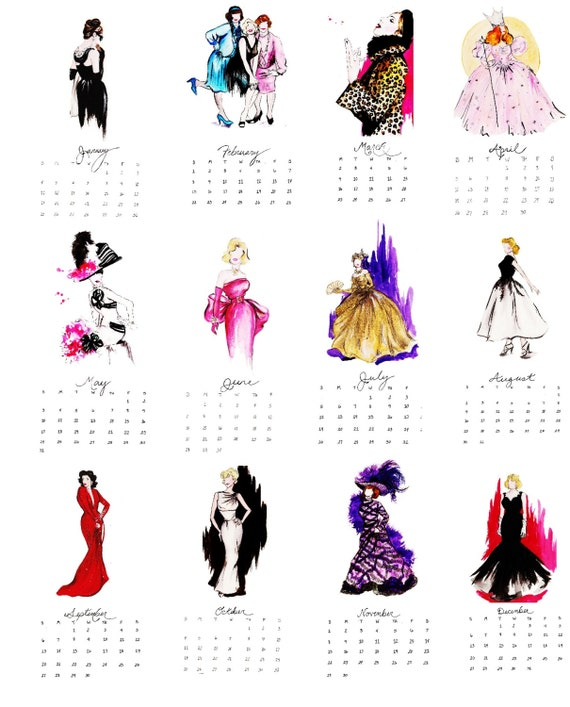 Classic Hollywood Costume Watercolor Illustration 2015 Calendar