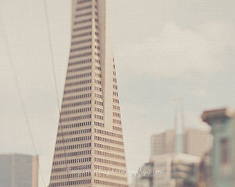 San Francisco photography, Transamerica Pyramid building, architecture print, surreal, California decor, neutral, cream white, loft wall art
