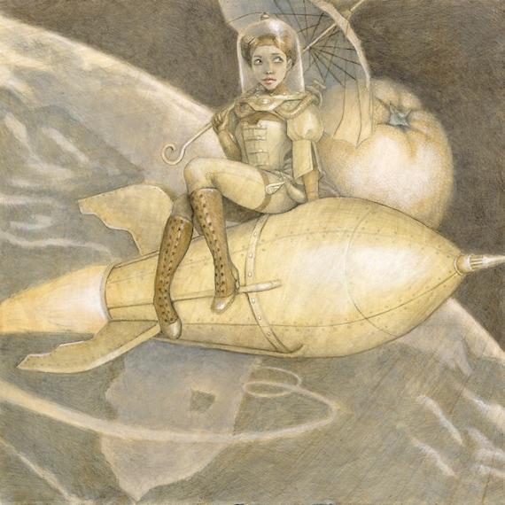 "Rocket 8x10 Fine Art Print, Space Painting, Steampunk Art, ""Rocket Girl"""