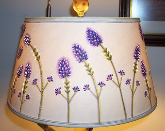 "For Your Love Provence Lavender Original Watercolored Cut & Pierced Drum Lamp Shade 8x12x6.25"" (No Lamp)"