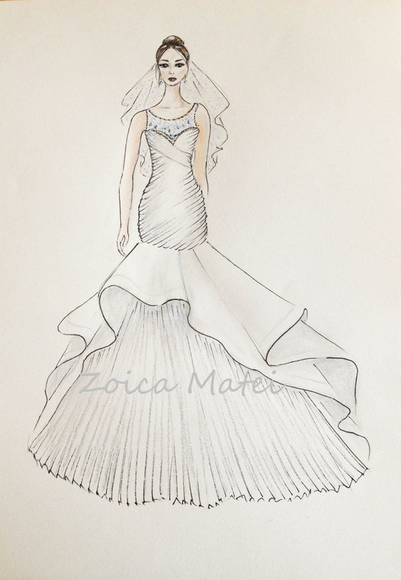 Custom bride portrait original bride with veil drawing