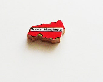 1960s Greater Manchester England Brooch - Pin / Unique Wearable History Gift Idea / Upcycled Vintage Wood Jewelry / Timeless Gift Under 25