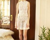 sale --was 275-- AsA Shadowplay Antique Lace High Neck Mini Dress M/L
