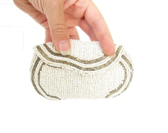 Vintage Cream Seed Beaded Coin Purse - Belgian Hand Made Flapper Era White and Silver Change Purse - Seed Beads Belgium