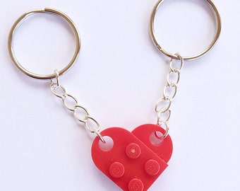 LEGO® Heart Keychain, Couples Gift, Anniversary Gift, Accessories
