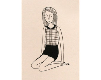 sitting girl on pink (4x6 print)