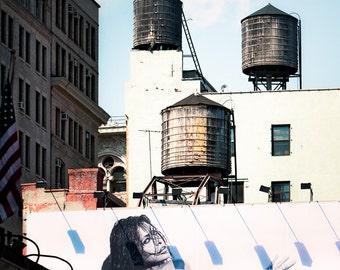 New York Water Towers 15, Urban Art Photography, Signed, Original Print, Billboard, City, Free Shipping