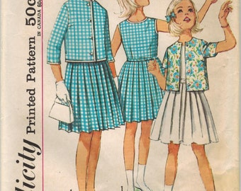 1960s Simplicity 4917 Vintage Sewing Pattern Girls Sleeveless Pleated Dress and Cropped Jacket Size 12