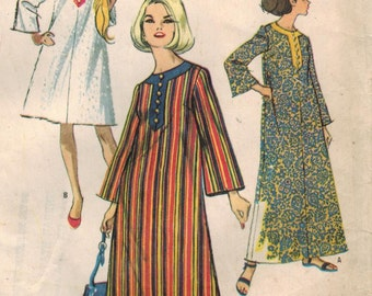 1960s McCall's 8230 Vintage Sewing Pattern Misses Beach Robe, Dashiki, Caftan Size 12 Bust 32