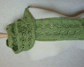 Hand Knit Leaf and Lace Scarf - Hand Knit - Spring Green - Ready to Ship