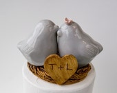 Pale Gray Love Bird Cake Topper