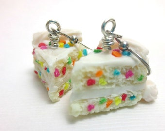 Vanilla Birthday Cake Necklace Cake Earrings, Miniature Food Jewelry, Polymer Clay Food Jewelry