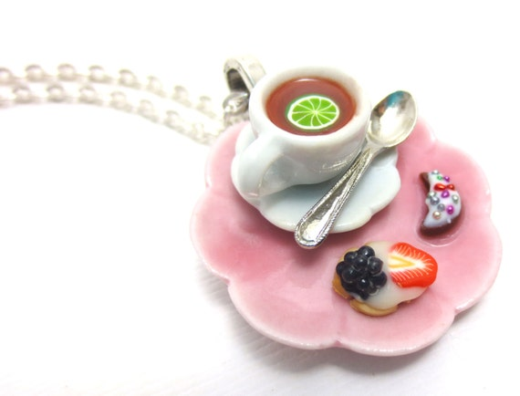 Bergamont Tea, Tart and Cookie Necklace, Miniature Food Jewelry, Polymer Clay Food Jewelry