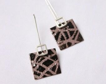 Drawnwork earrings III, Biscuit and brown enamels, Sterling silver and copper, square earrings