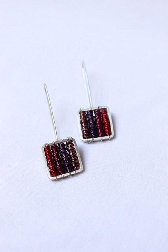 "Earrings Purple in Sterling silver and copper, long and super lightweight earrings, ""Tangle earrings"""