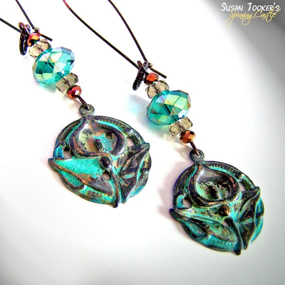 Calla Lily Green Verdigris Patina Earrings Iridescent Beads Art Nouveau Dangle Boho Gypsy Chic by Spinning Castle