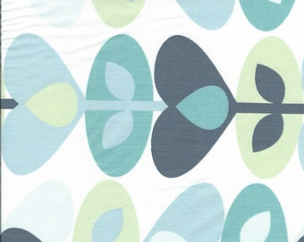 "White Cotton with Shades of Blue/Green Abstract Leaves. 60"" wide. 1 yard."