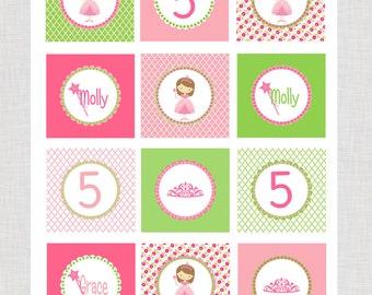 Pink  Princess Cupcake Toppers Printable PDF Hair Color Choice