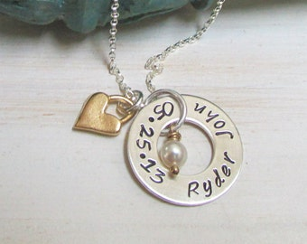 Hand Stamped Necklace, Mothers Name Necklace, Personalized Necklace Gold Heart Mommy Jewelry Mothers Day Gift Idea