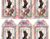 Scottie Dog 1188 Victorian Roses Digital Printable Collage Tag Sheet