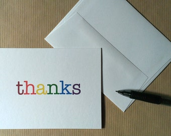 Rainbow Thank You Cards (Set of 6)