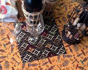 Wine Bar Table Topper - cafe cloth - picnic cloth - 100% Cotton - Reversible - Item #T0108