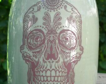 Sugar Skull jug moonshine whiskey handmade