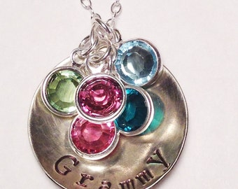 Grandmother's Necklace, Personalized Birthstone Family Necklace, Hand Stamped Jewelry, Mother's Necklace, Grandmother Jewelry