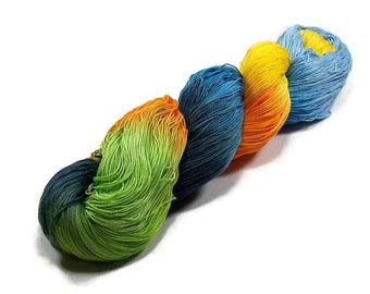 150 Yards Hand Dyed Cotton Crochet Thread Size 10 3 Ply  Thread Green Orange Yellow Blue Black Light Blue Hand Painted Fine Cotton Yarn