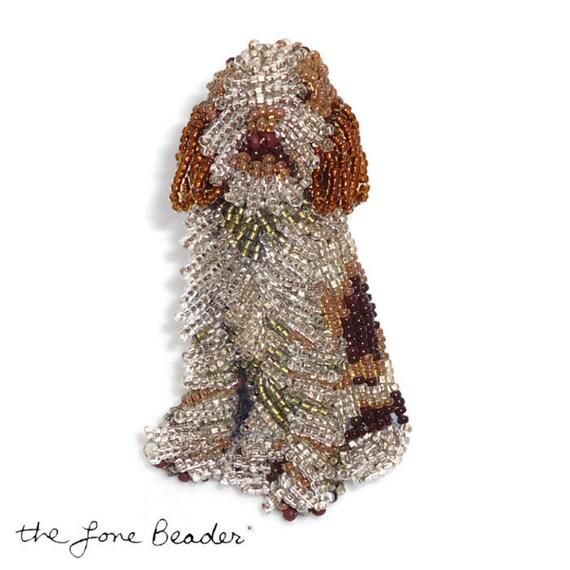 Beaded ITALIAN SPINONE keepsake dog pin pendant art jewelry (Made to Order) Free US Shipping
