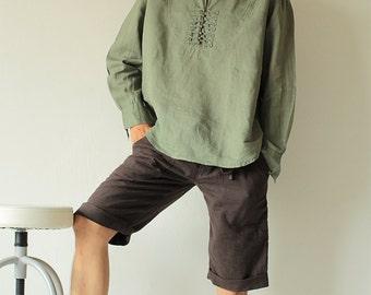100% Linen long sleeve men's shirt  B 5404