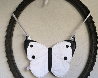 Pure Love - Handmade Butterfly Pieris Rapae with Real Italian Leather Bag - One of a Kind