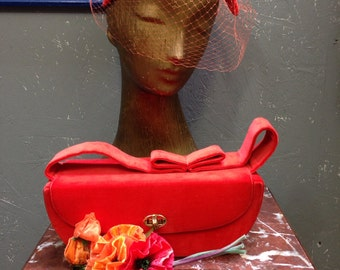 50's coral velveteen hat with matching purse.