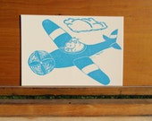 Flying Hippo Letterpress Postcard