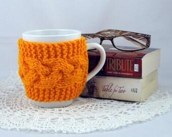Pumpkin Hand Knit Coffee Mug Cozy Cable