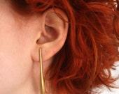 vintage brass elongated drop earrings