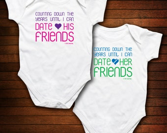 BOY/GIRL TWINS - Counting Down the Years Until I Can Date His/Her Friends - Funny Baby Gift