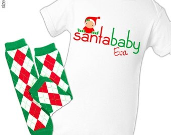 Christmas santa baby bodysuit or t-shirt and matching leg warmer set baby's first christmas