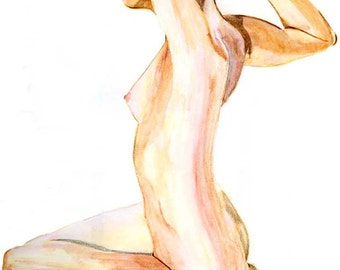 Water color Nude Figure Study Drawing Print