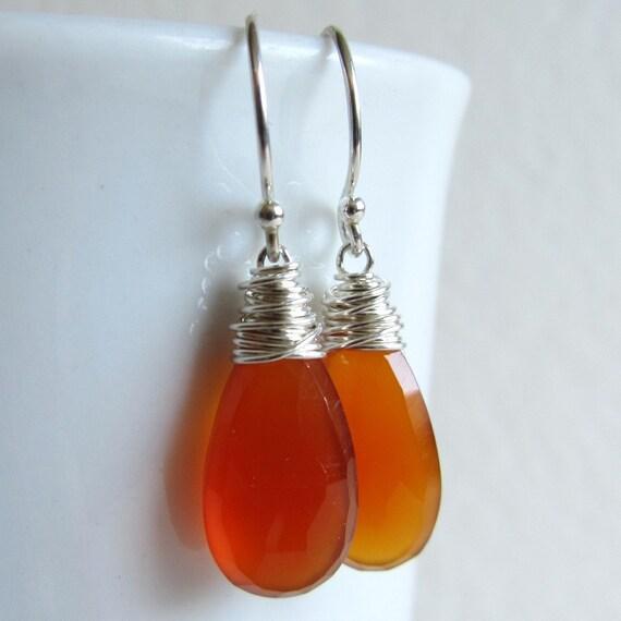 Orange Gemstone Earrings Wire Wrapped Silver Chalcedony Jewelry