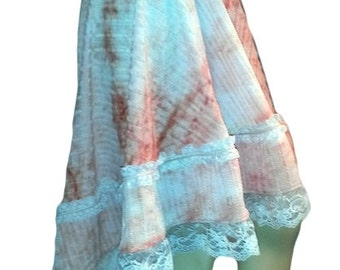 High Low Skirt with Ruffle Lace Trim Handmade