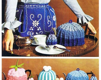 Knitted Striped Tea and Egg Cosy and Strawberry tea cosy - Digital Knitting Pattern
