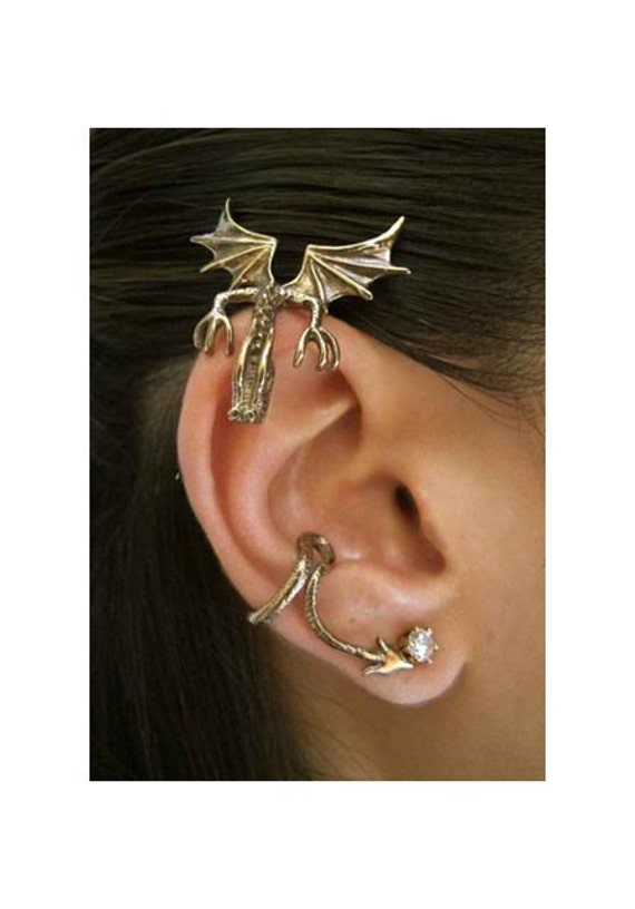 Dragon Ear Wrap Bronze Dragon Ear Cuff - Curious Dragon Ear Wrap - Dragon Earring Dragon Jewelry - Game of Thrones Inspired Jewelry