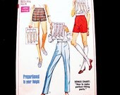1960s Slim Pants Pattern Misses size 12 UNCUT Proportioned Pants Short Shorts High Waisted  Pants Vintage Sewing Pattern 60s